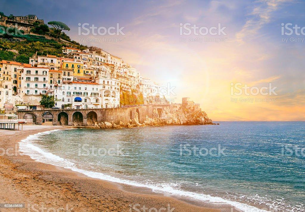 beautiful landscape of amalfi coast mediterranean sea south ital stock photo