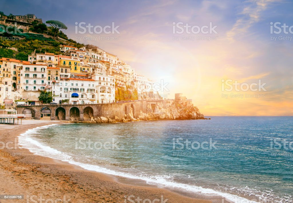 beautiful landscape of amalfi coast mediterranean sea south italy important traveling destination in europe stock photo
