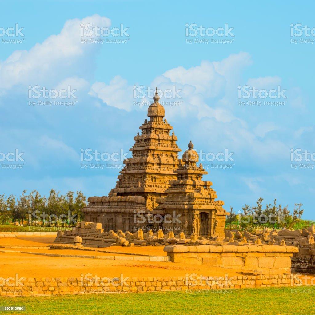 beautiful landscape of ancient monolithic famous Shore Temple near Mahabalipuram, world heritage site in Tamil Nadu, India stock photo