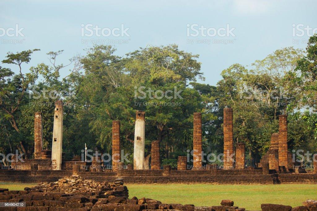 Beautiful landscape of ancient  temple in sisatchanalai heritage ,Sukhothai, Thailand royalty-free stock photo