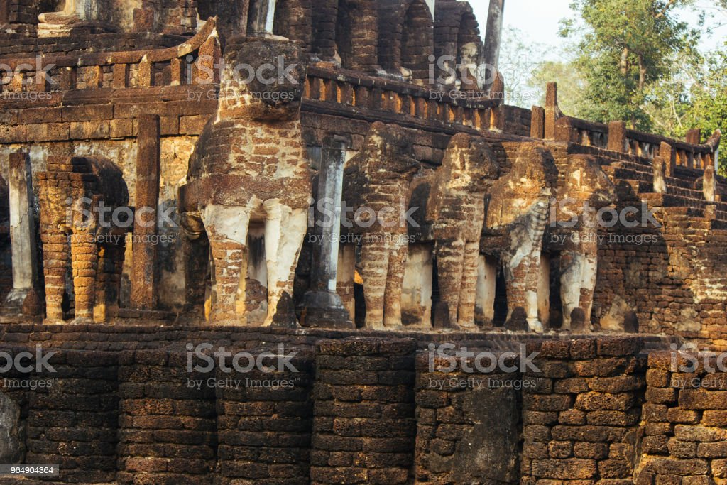 Beautiful landscape of ancient  temple in sisatchanalai heritage ,Sukhothai, Thailand - Royalty-free Buddha Stock Photo