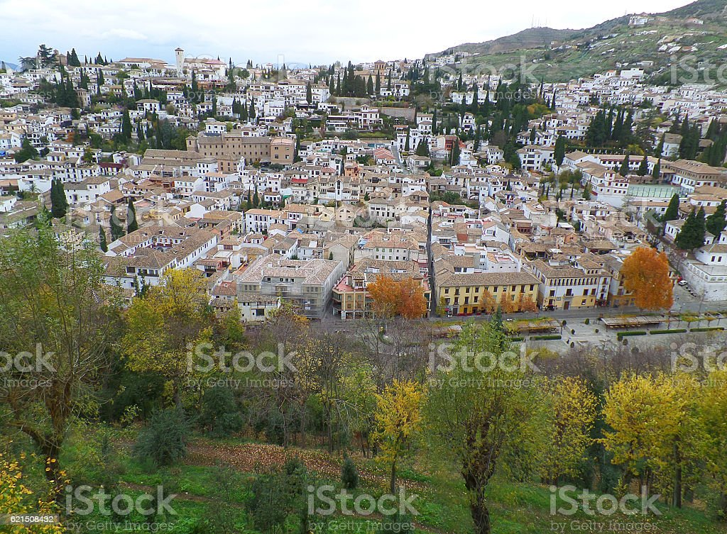 Beautiful landscape of Granada in the warm colors of autumn Lizenzfreies stock-foto