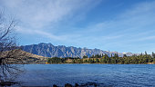 Beautiful landscape of Lake wakatipu and forest in Queenstown in New zealand