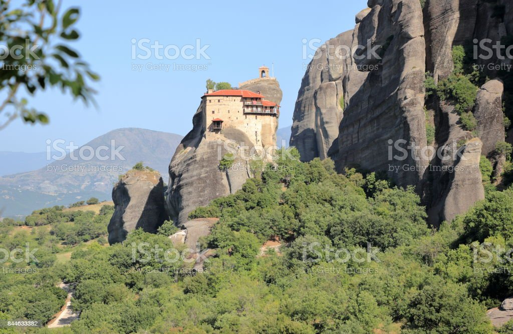 Beautiful landscape of Meteora. Monastery in Kalambaka, Kastraki, central Greece. stock photo