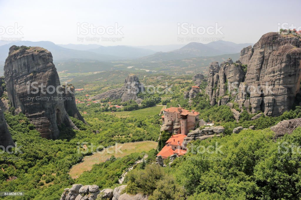 Beautiful landscape of Meteora. Monastery of Rousanou. Kalambaka, Kastraki, central Greece. stock photo