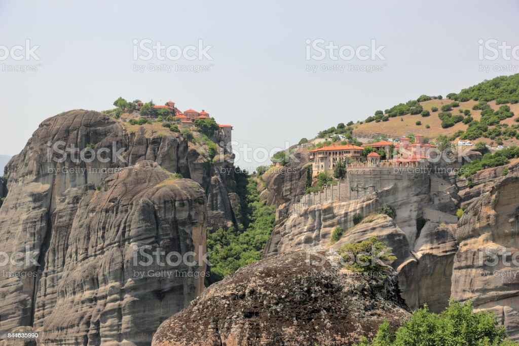 Beautiful landscape of Meteora. Monastery of Varlaam and Great Meteoron. Central Greece. stock photo