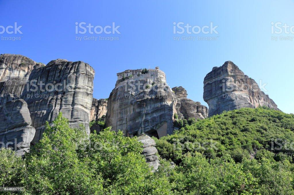 Beautiful landscape of Meteora. Monastery of Varlaam. Kalambaka, Kastraki, central Greece. stock photo