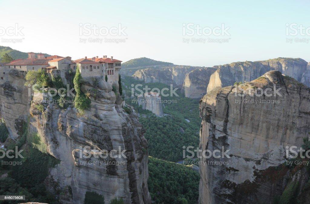 Beautiful landscape of Meteora. The Meteora Monasteries, central Greece. stock photo