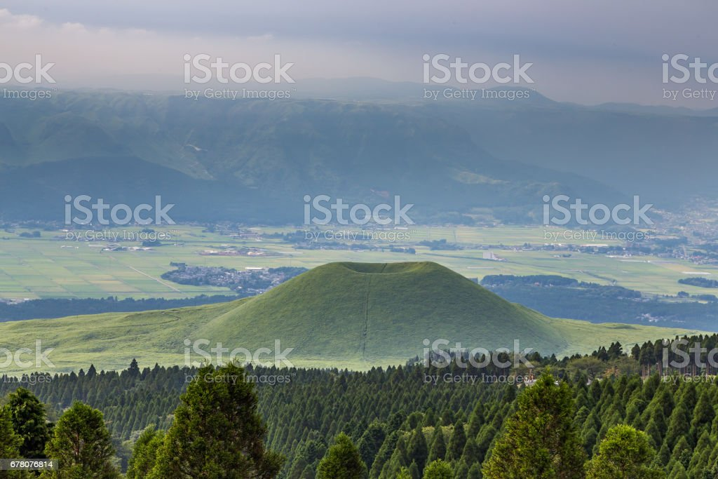 Beautiful landscape of Mount Aso volcano in Kumamoto, Japan stock photo