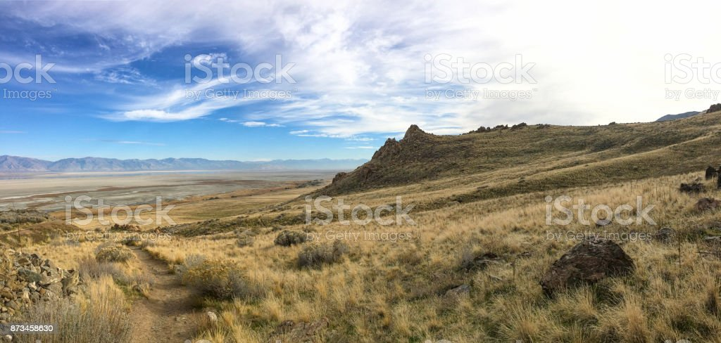 Beautiful landscape of mountain range stock photo