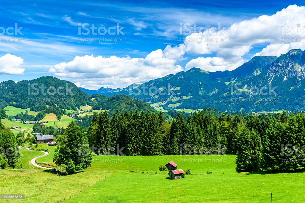 Beautiful Landscape of Oberstdorf region in the south of Germany stock photo