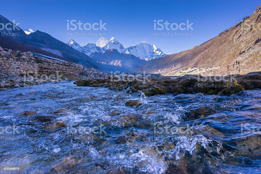 Beautiful Landscape of Pheriche Village (4240 m) zbiór zdjęć royalty-free