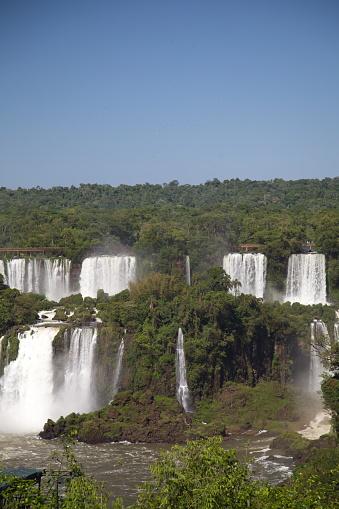 Beautiful Landscape of powerful Foz do Iguaçu Waterfall Brazil.