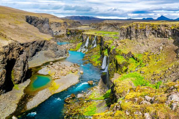 Schöne Landschaft der Sigoldugljufur canyon – Foto