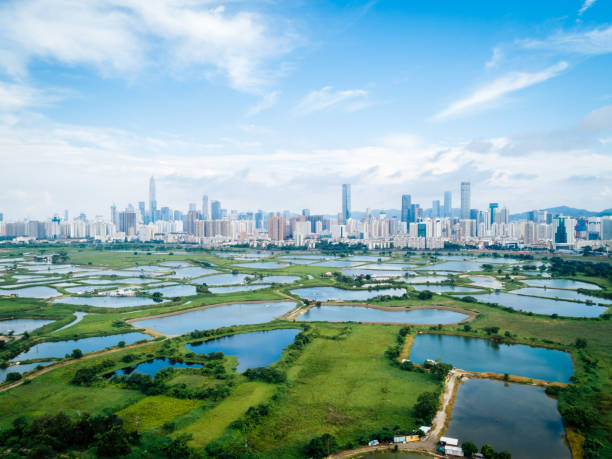 Beautiful landscape of skylines of Shenzhen,China stock photo
