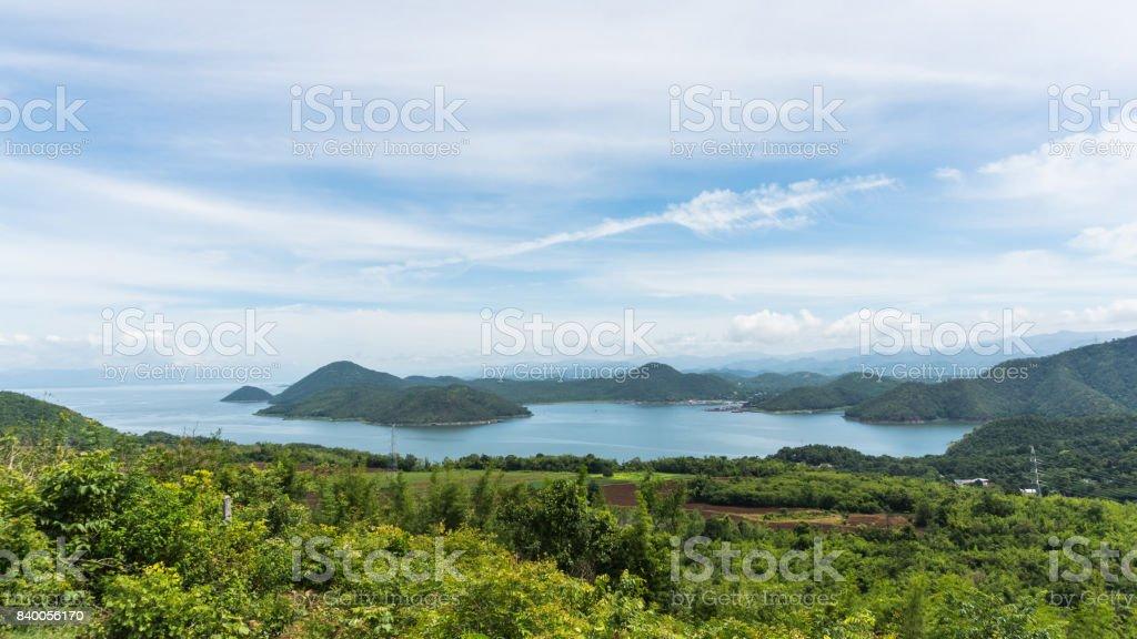Beautiful landscape of srinagarind dam at kanchanaburi thailand stock photo