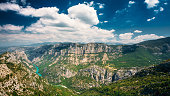 Panorama of amazing landscape of the Gorges Du Verdon in south-eastern France. Provence-Alpes-Cote d'Azur.