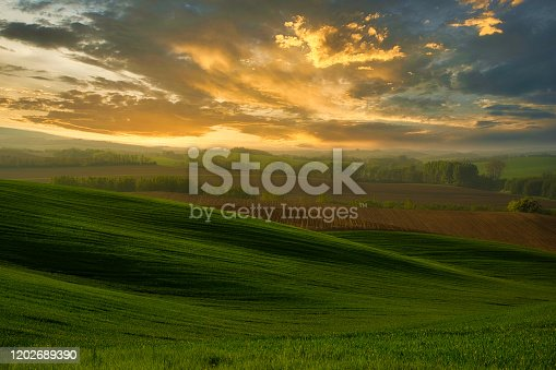 A beautiful landscape of the hills with dramatic sky