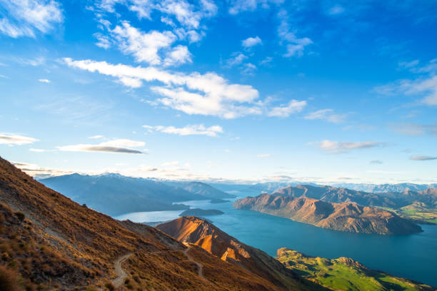 Schöne Landschaft der Berge und Lake Wanaka. Roys Peak Track, Südinsel, Neuseeland. – Foto
