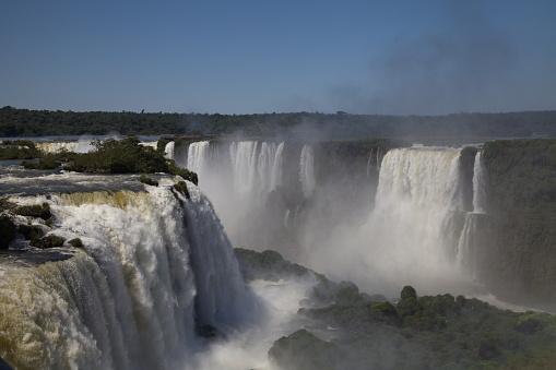 Beautiful Landscape of the powerful Foz do Iguaçu Waterfall Brazil.