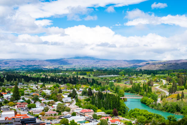 Beautiful landscape of the town with blue sky. Clyde, New Zealand. stock photo