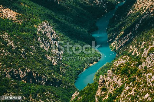 Beautiful landscape of the Verdon Gorge and river Le Verdon in south-eastern France. Provence-Alpes-Cote d'Azur.