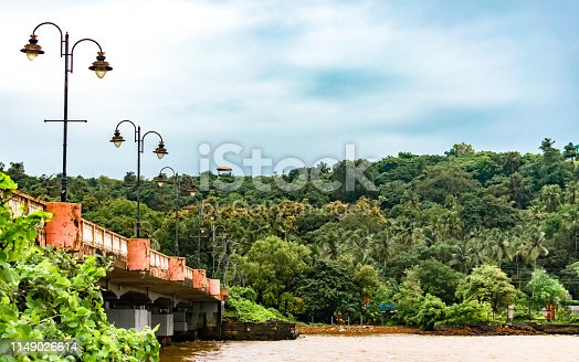 Lush Green scenery of a coastal town of Goa in South India. It consists of the side view of the bridge connecting a remote island to the mainland. The bridge is decorated with traditional style electric poles with lamps as street lights. The rich vegetation, especially in the rainy season of monsoons is the signature of the entire Western Ghats, a UNESCO declared world heritage site and also one of the hottest hotspots due to the wide variety of natural and species diversity of flora and fauna found in this region. A typical geography of Southern India especially Goa, Karnataka, Kerala and also that of Sri Lanka and other island nations of the Indian Ocean.