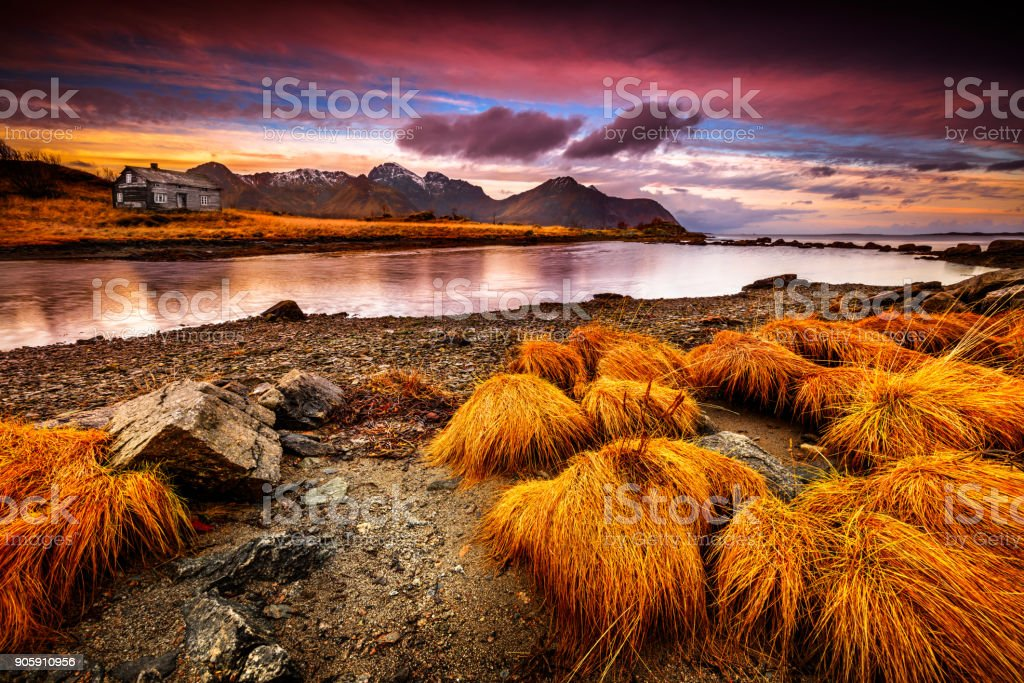 Beautiful landscape of Vestvagoy in the evening stock photo