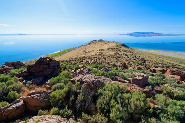 Beautiful landscape on Antelope Island stock photo