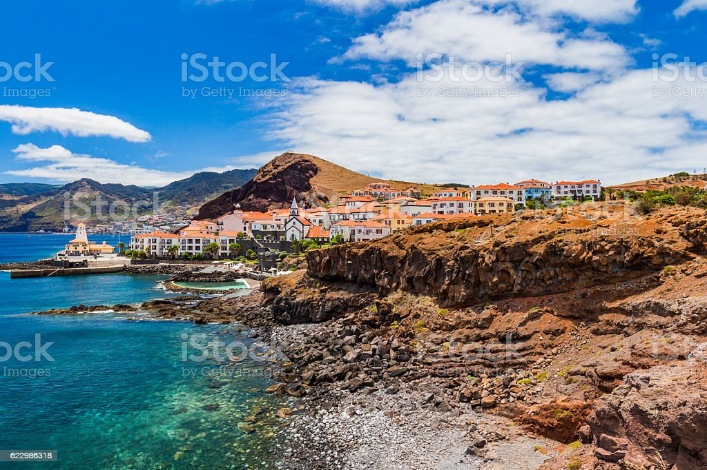 Beautiful landscape on north coast of Ponta de Sao Lourenco stock photo