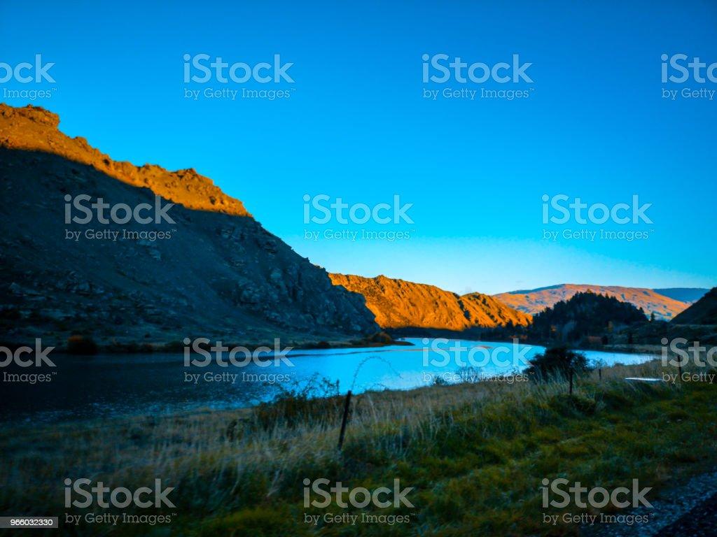Eine schöne Landschaft auf den Morgen, South Island, Neuseeland - Lizenzfrei Armaturenbrett Stock-Foto