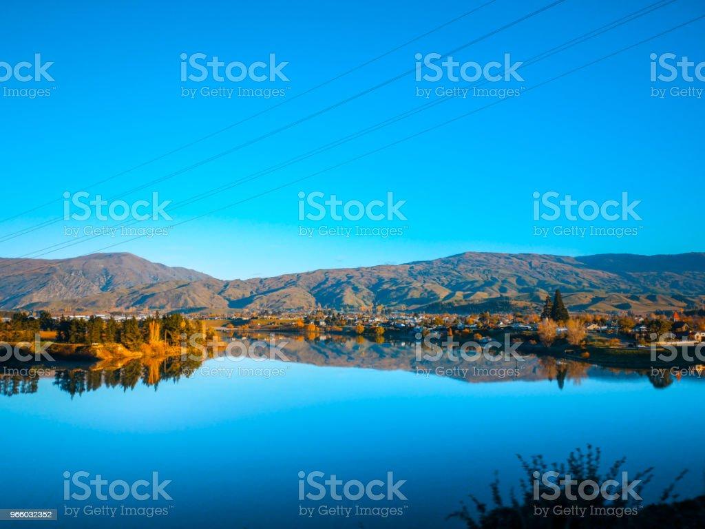 Een prachtig landschap op de ochtend, Zuid eiland, Nieuw-Zeeland - Royalty-free Achtergrond - Thema Stockfoto