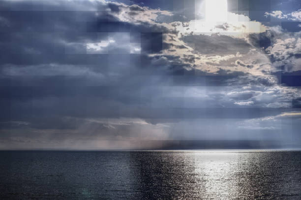 바다, 비, 대기 사진에 아름 다운 풍경 스톡 사진
