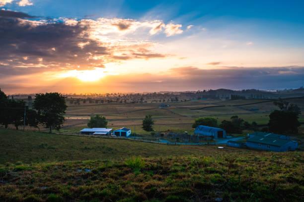 Beautiful landscape scene in the morning at farmland. stock photo