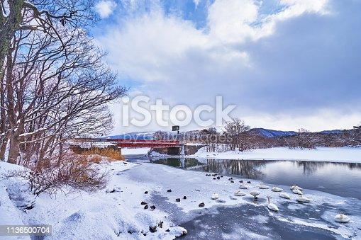 Beautiful landscape scenic of Konuma and Onuma lake during winter season at Onuma koen in Kameda district in Hokkaido, Japan.
