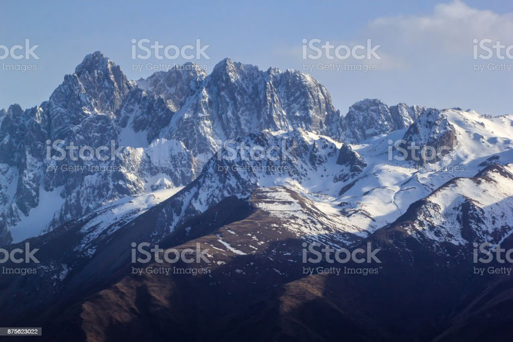 Beautiful landscape snow mountain at Sichuan Province, China stock photo