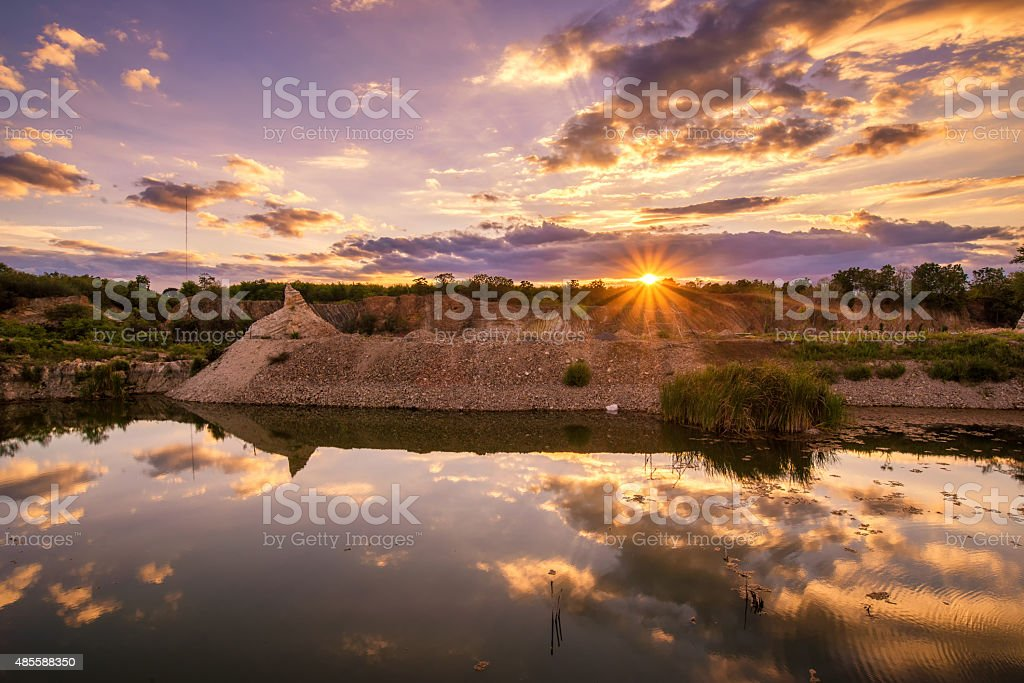 beautiful landscape sunset view at lake and mine stock photo