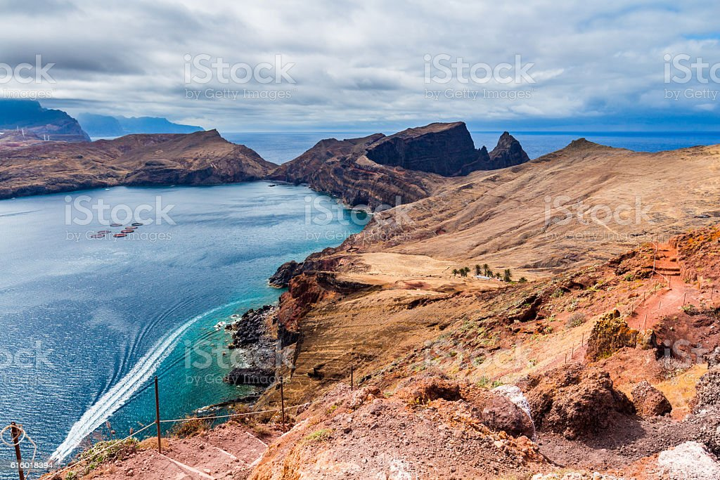 Beautiful landscape, the east coast of Ponta de Sao Lourenco stock photo