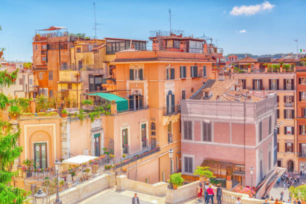 rome, italy - may 08, 2017:  beautiful landscape  urban and historical view of the rome, street, people, tourists on it, urban life of the eternal city above from spanish steps. - rome road central view foto e immagini stock