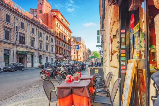beautiful landscape  urban view of the rome, street cafe, transport, urban life of the big city. - rome road central view foto e immagini stock