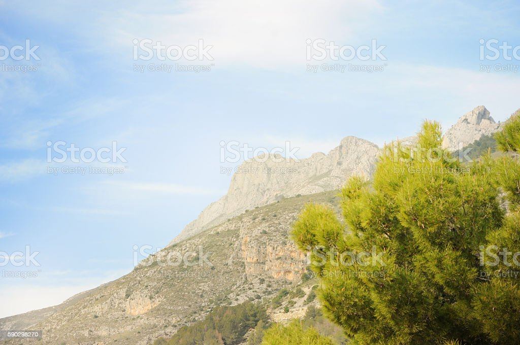 Beautiful landscape view on mountains. Altea, Spain royaltyfri bildbanksbilder