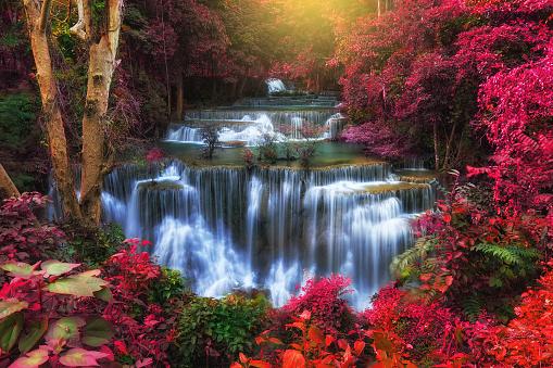 Huay Mae Kamin Waterfall, Beautiful landscape waterfall in rainforest at Kanchanaburi province, Thailand