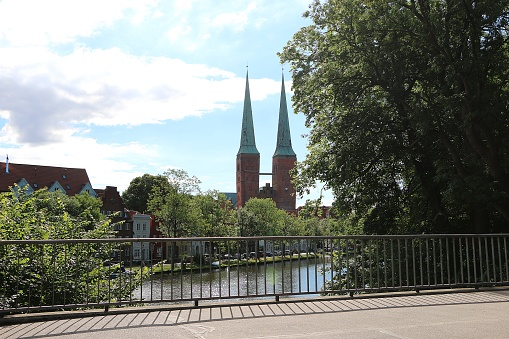 beautiful landscape with a church and a river