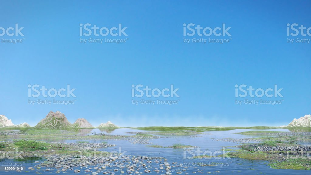beautiful landscape with blue sky and calm water stock photo