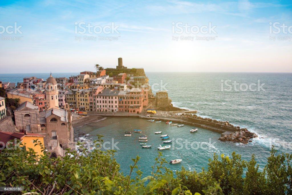 Beautiful landscape with colorful houses on the cliffs in Vernazza, Cinque Terre, Italy, Europe in sunlisht stock photo