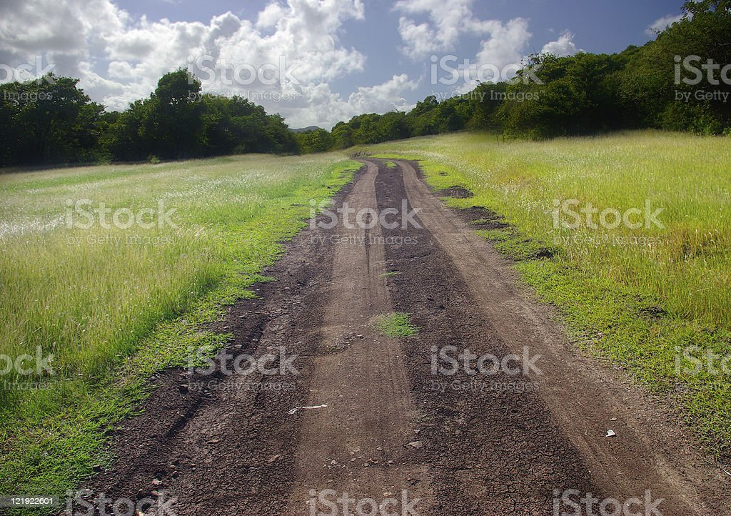 beautiful landscape with dirt road track leading to infinity royalty-free stock photo
