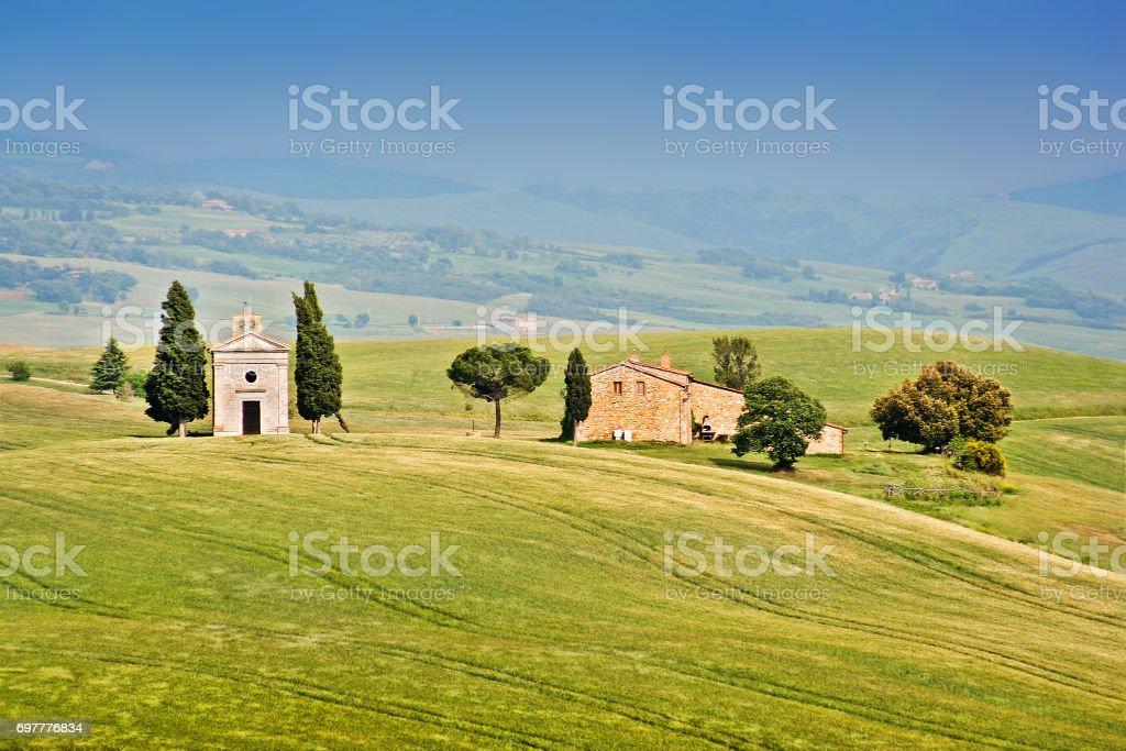 Beautiful landscape with famous Cappella della Madonna di Vitaleta in Val d'Orcia, province of Siena, Tuscany, Italy stock photo