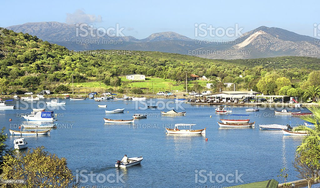 Beautiful landscape with fishing boats royalty-free stock photo