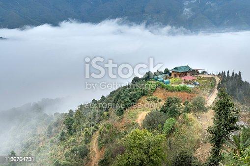 Ta Xua Commune, Bac Yen District, Son La Province, Vietnam January 7, 2019: Beautiful landscape with fog and mountain in Ta Xua, Son La, Vietnam