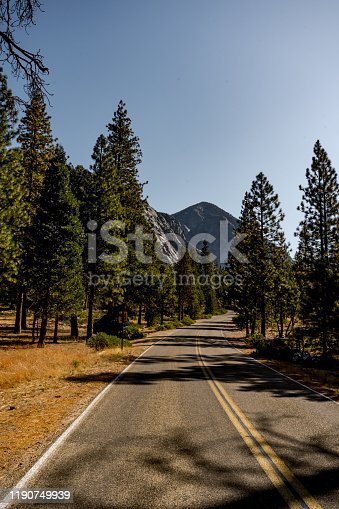 beautiful landscape with road and mountains in Kings Canyon National Park ,California